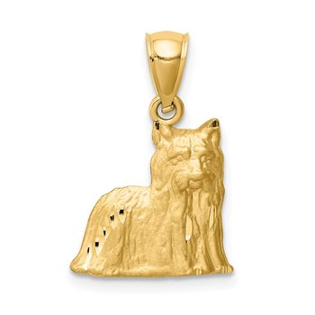14K Diamond-cut Yorkshire Terrier Pendant