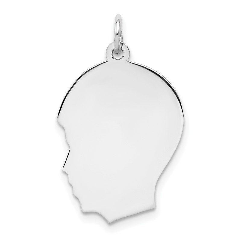 Quality Gold Sterling Silver Rhod-plate Eng. Boy Polished Front/Satin Back Disc Charm
