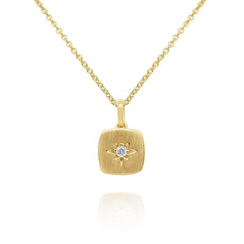 14k Gold and Diamond Starburst Necklace, 16""