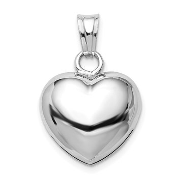 Sterling Silver Rhodium-plated Polished Bell inside Puffed Heart Pendant