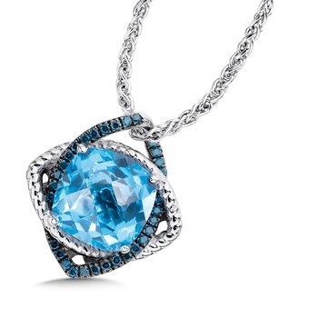 Sterling silver, blue topaz and diamond pendant