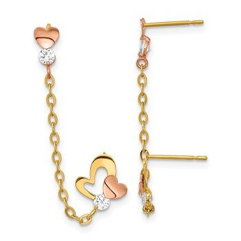 14k Madi K Two-tone CZ Double Post w/Chain Heart Earring