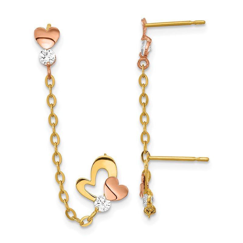 Arizona Diamond Center Collection 14k Madi K Two-tone CZ Double Post w/Chain Heart Earring