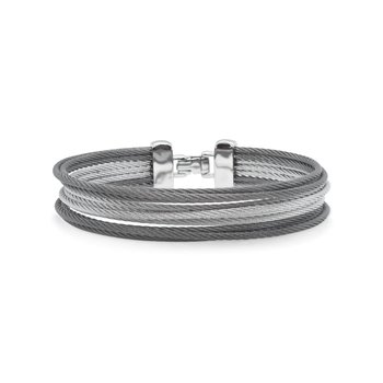 Grey & Steel Grey Cable Triple Stack Bracelet