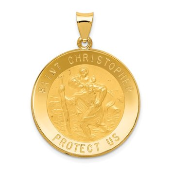 14k Saint Christopher Medal Hollow Pendant