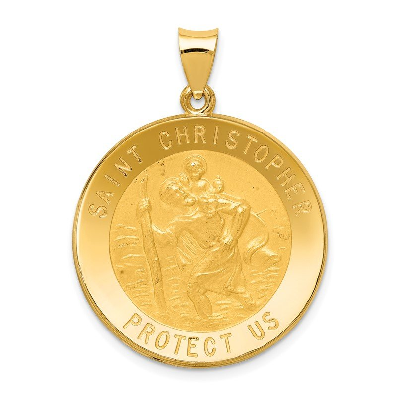 Quality Gold 14k Saint Christopher Medal Hollow Pendant