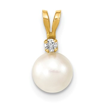 14k 6-7mm Round White Saltwater Akoya Cultured Pearl Diamond Pendant