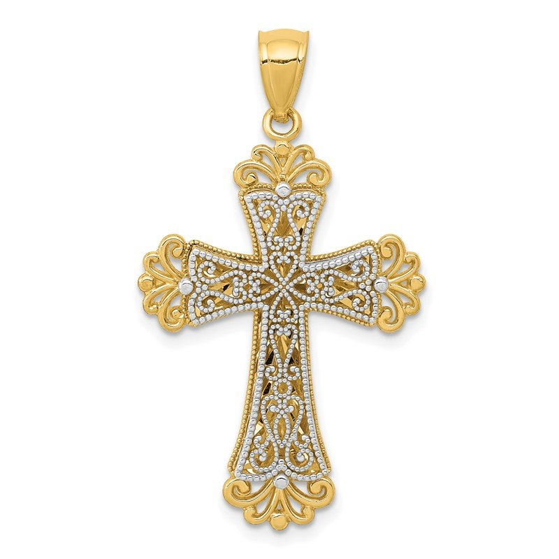 Quality Gold 14K Two-tone Polished 2 Level Budded Cross Pendant