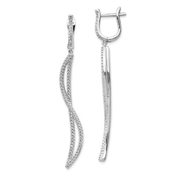 Sterling Silver RH-plated CZ Dangle Curve Earrings