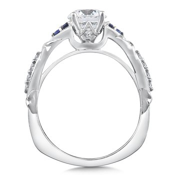 Diamond and Blue Sapphire Engagement Ring Mounting in 14K White Gold (.12 ct. tw.)