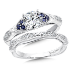 Valina Diamond and Blue Sapphire Engagement Ring Mounting in 14K White Gold (.12 ct. tw.)