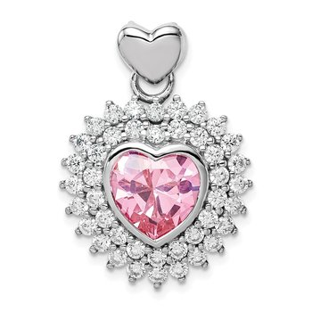 Sterling Silver Rhodium-plated 9mm Pink Heart CZ Pendant