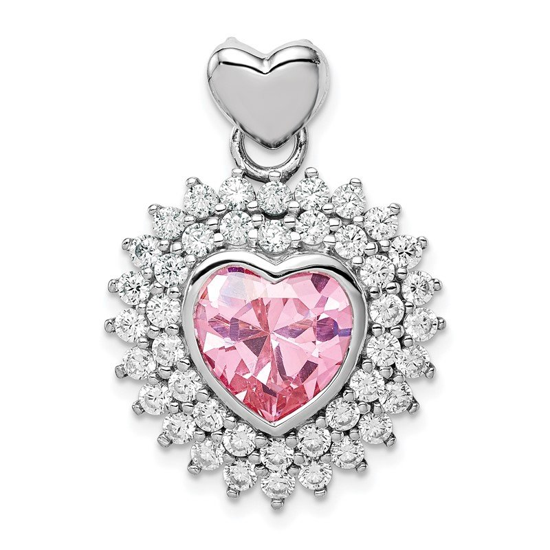 Quality Gold Sterling Silver Rhodium-plated 9mm Pink Heart CZ Pendant