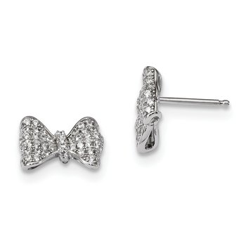 SS Rhodium-Plated CZ Brilliant Embers Bow Post Earrings