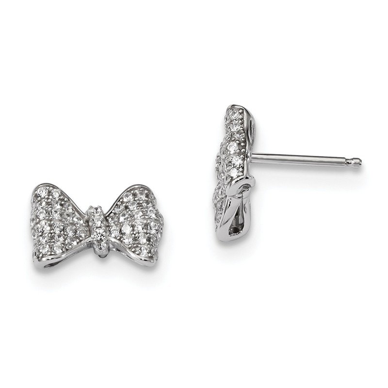 Quality Gold Sterling Silver & CZ Brilliant Embers Bow Post Earrings