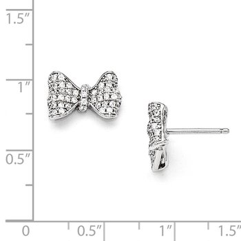Sterling Silver Brilliant Embers Rhodium-plated CZ Bow Post Earrings
