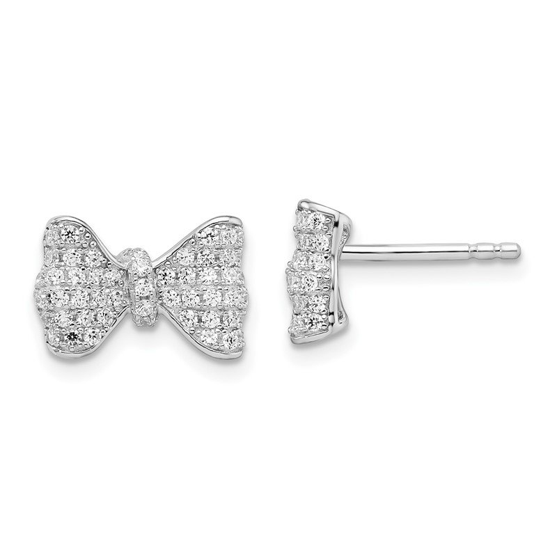 Quality Gold SS Rhodium-Plated CZ Brilliant Embers Bow Post Earrings