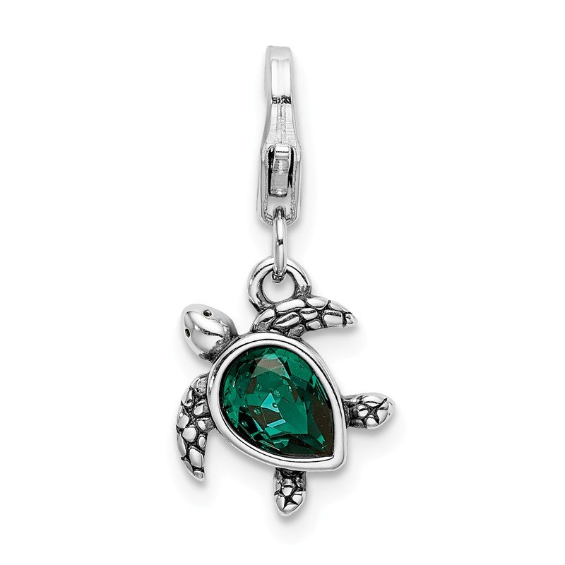 Quality Gold Sterling Silver RH Green Swarovski Turtle with Lobster Clasp Charm