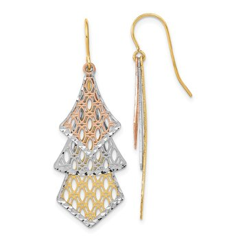 14k Tri-color D/C Polished Filigree Dangle Earrings