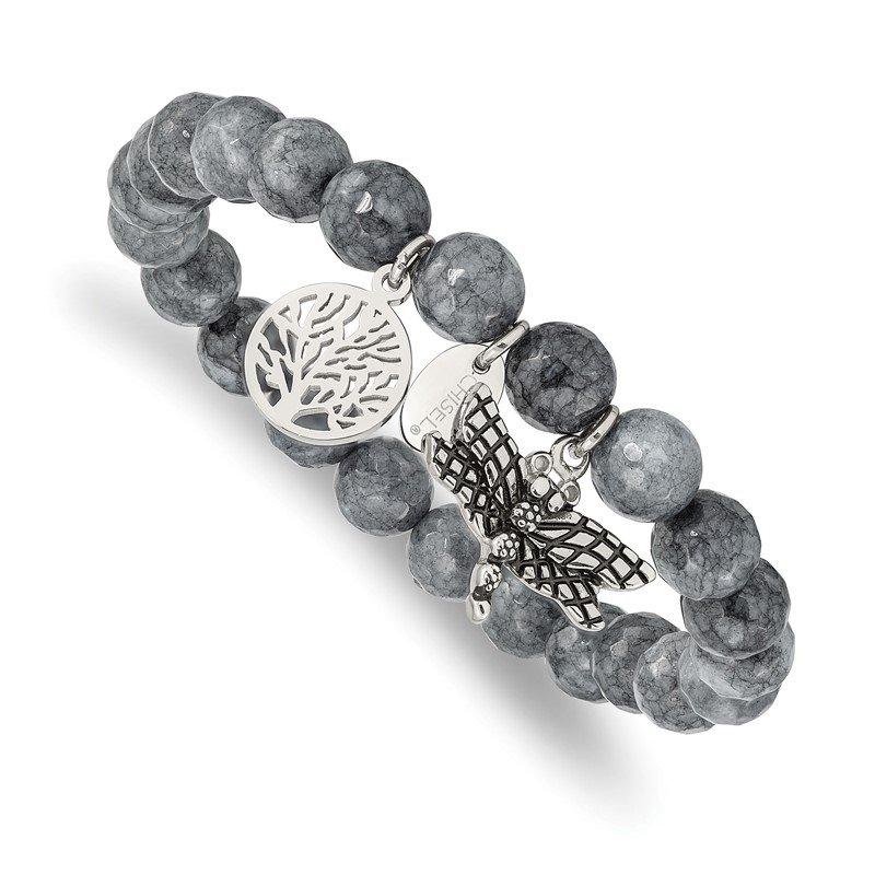 Chisel Stainless Steel Antiqued & Polished Dragonfly Grey Dyed Jade Bracelet