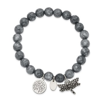 Stainless Steel Antiqued & Polished Dragonfly Grey Dyed Jade Bracelet