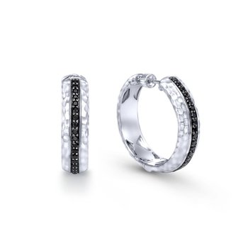 925 Sterling Silver Pave Set 20mm Round Black Spinel Hoop Earrings