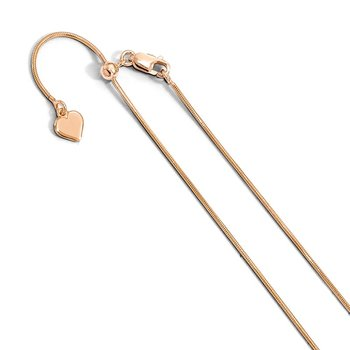 Leslie's Sterling Silver Rose Gold-plated Adjustable .95mm Snake Chain