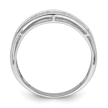 Sterling Silver Rhodium Diam. Band Ring