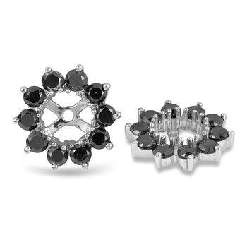 14K WG Black Diamond Earring Jacket Prong set OD 12.1