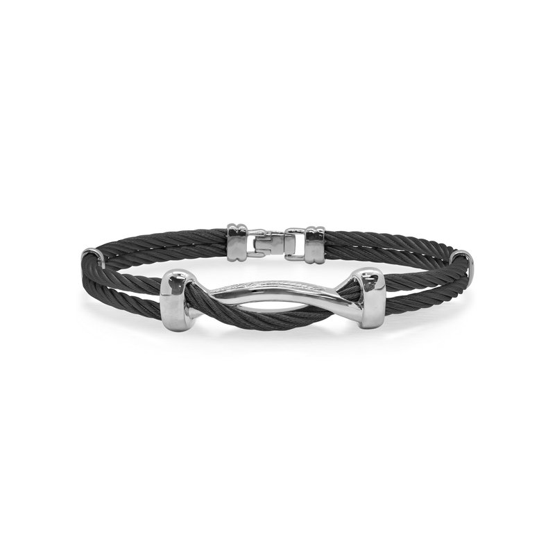 ALOR Black Cable Twist Bracelet