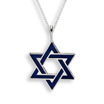 Blue Star of David Necklace.Sterling Silver