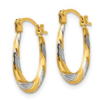 14k Madi K w/Rhodium Twist Hoop Earrings