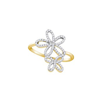 10kt Yellow Gold Womens Round Diamond Flower Star Cluster Ring 1/5 Cttw