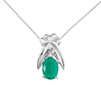 14k White Gold 7x5mm Oval Emerald and Diamond Pendant