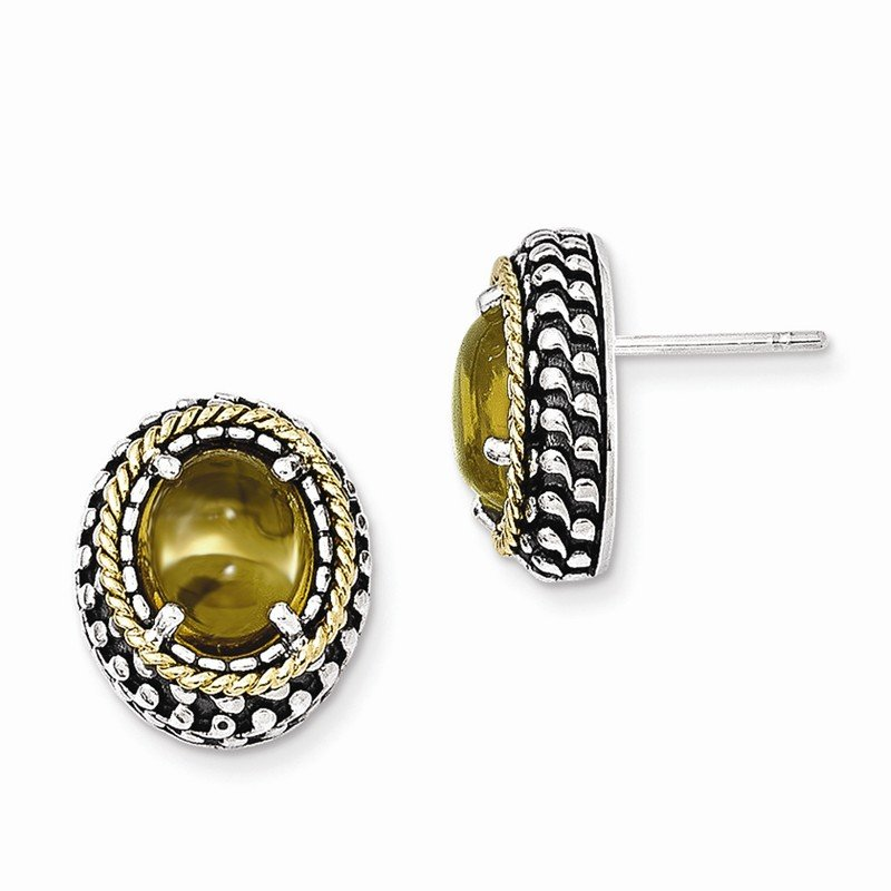 Shey Couture Sterling Silver w/14k Antiqued Citrine Post Earrings