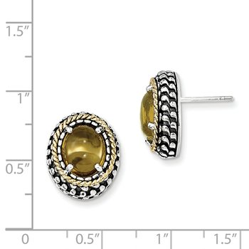 Sterling Silver w/14k Antiqued Citrine Post Earrings