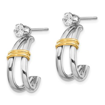 14k Two-tone J Hoop with CZ Stud Earring Jackets
