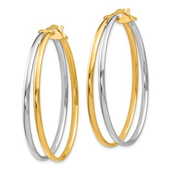Leslie's 14K Rhodium-plated Polished Hoop Earrings