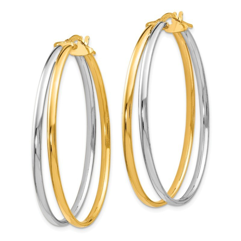 Leslie's Leslie's 14K Rhodium-plated Polished Hoop Earrings