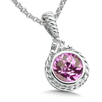 Sterling Silver and Created Pink Sapphire Pendant