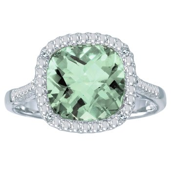 14k White Gold Cushion Cut Green Amethyst And Diamond Ring