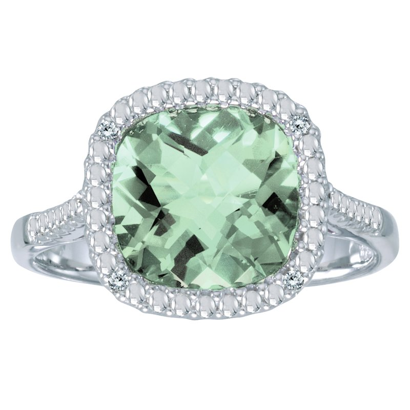 Color Merchants 14k White Gold Cushion Cut Green Amethyst And Diamond Ring