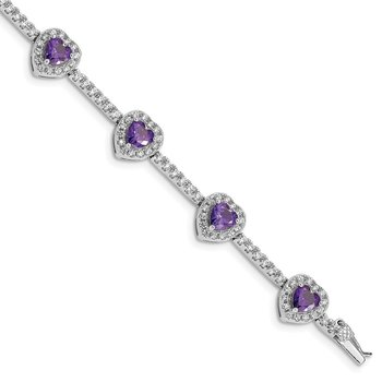 Sterling Silver Rhodium-plated Amethyst and Clear CZ Heart Bracelet