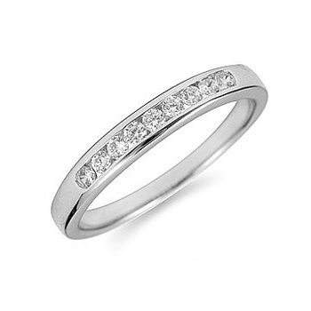 14K WG Diamond Channel Set 9 Round Stone Band