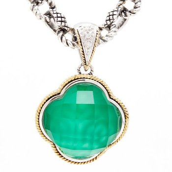 18kt and Sterling Silver Green Agate Clover Diamond Pendant with Signature Chain