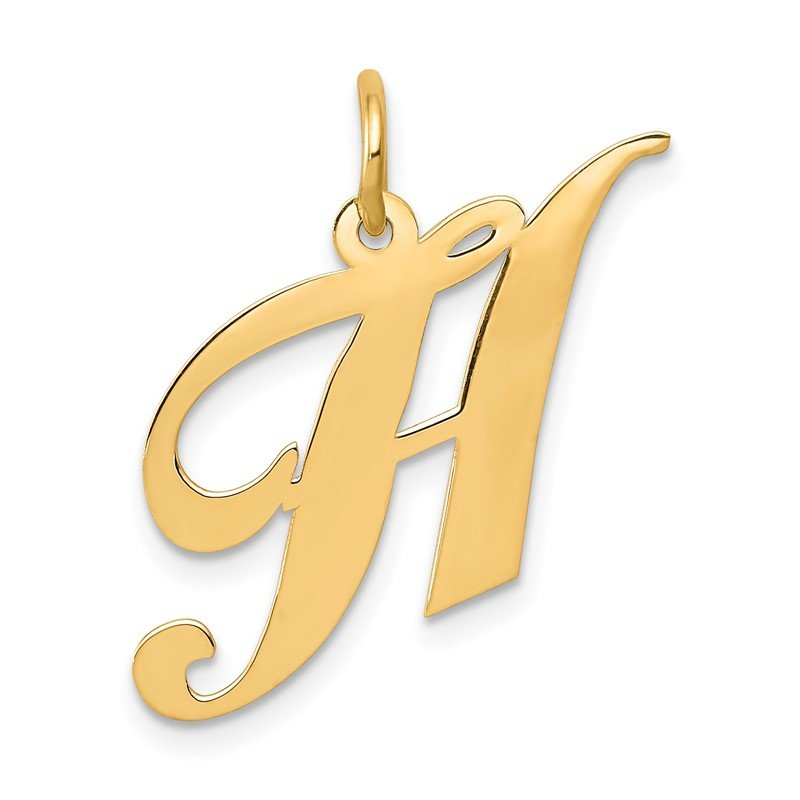 Quality Gold 14K Medium Fancy Script Letter H Initial Charm