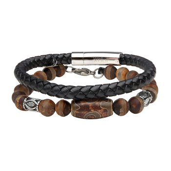 Dzi Tibetan Bead with Brown Agate Stone and Black Braided Leather Stackable Bracelets
