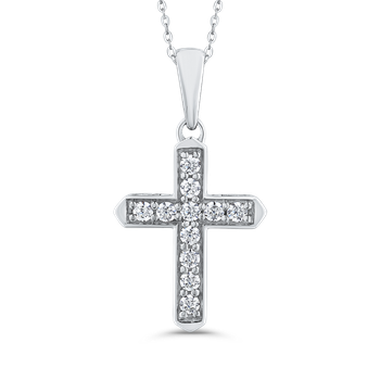 10K White Gold 1/4 ct Round White Diamond Cross Pendant with Chain