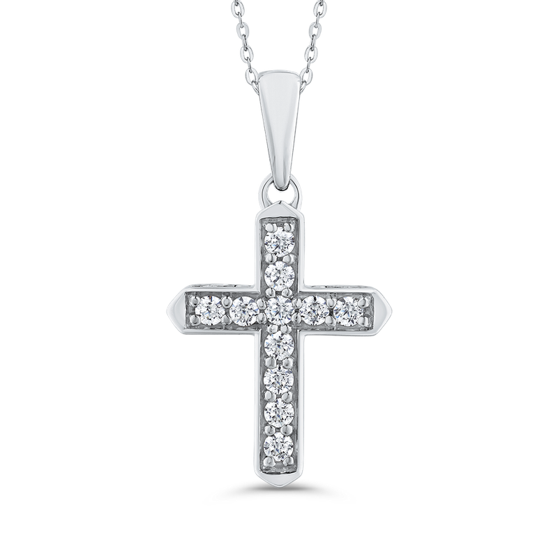 Essentials 10K White Gold 1/4 ct Round White Diamond Cross Pendant with Chain