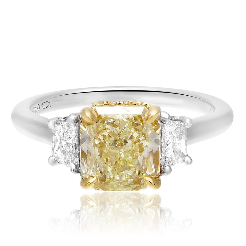 Roman & Jules Three Stone Radiant Diamond Ring